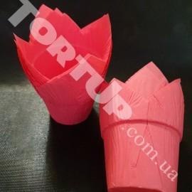 Бумажная форма Тюльпан с жёстким бортом, Розовые 10шт