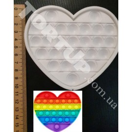 Молд силиконовый для леденцов Антистресс Поп Ит Сердце (№4) , высота 10см ширина 12см