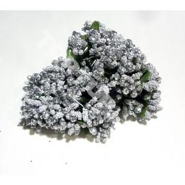 Тычинки с блёстком серебро 11см 1 пучок 12 веточек