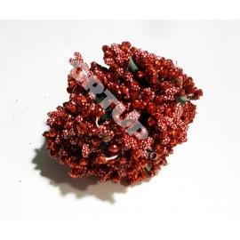 Тычинки с бусинками красные 11см 1 пучок 12 веточек