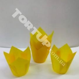 Бумажная форма Тюльпан 5*8см Жёлтые 10шт