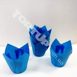 Бумажная форма Тюльпан 5*8см Голубые 10шт