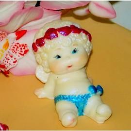 Молд 3D Ангелочек с венком из сердечек №1 (4*7см)