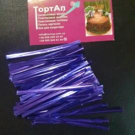 Ленточка с проволокой голубая 100шт длина 8см