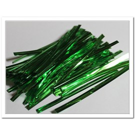 Ленточка с проволокой зелёная 100шт длина 8см