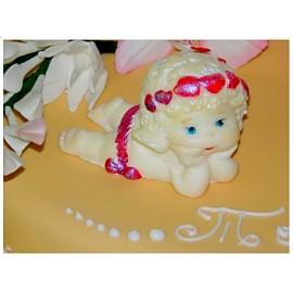 Молд 3D Ангелочек с венком из сердечек №3 (4*7см)