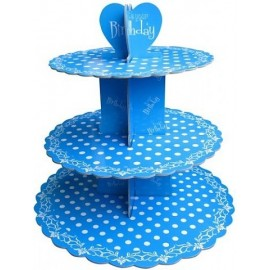 Стенд картонный для капкейков Синий в горошек, d-31 см, 25см, 20,7 см, высота - 31,5 см АКЦИЯ
