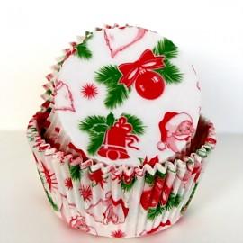 Бумажная форма для маффинов 50*30мм Санта Клаус 50шт