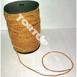 Бусы-гирлянда золото 3,0мм  1метр