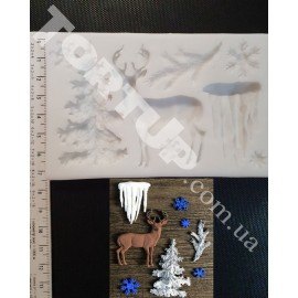 01 Молд Рождественский олень. Размер молда 12*7см