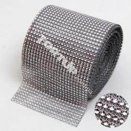 Моток Лента со стразами серебро, длина 9м, ширина 12см