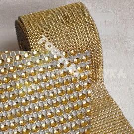 Моток Лента со стразами золото, длина 85см(остаток), ширина 12см