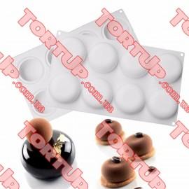Форма силиконовая для евродесертов Globe размер планшета 29,5 *17см, d формы 6,5см, h-2,5см
