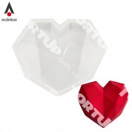 Форма силиконовая для евродесертов Сердце Гранёное 16*19см, 830мл