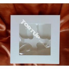 Коробка глянец для маффинов, на 4 кекса, окно 170*170*80мм