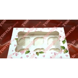 Коробка для маффинов полностью ламинированная, Розы с сердечками  250*170*80мм