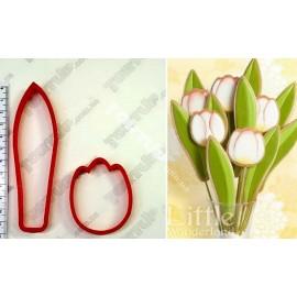Пластиковая вырубка Набор тюльпан и лист, лист 12см, бутон 6см