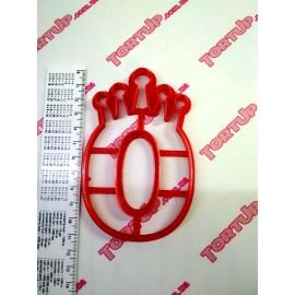 Пластиковая вырубка цифра с короной Ноль 11см