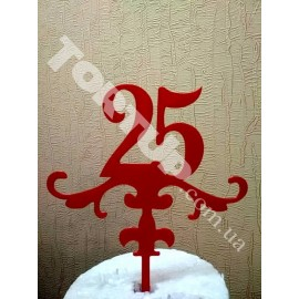 Топпер пластиковый 25 красный, 13см