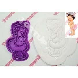 Пластиковая вырубка с оттиском Девочка с короной  10см