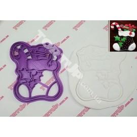 Пластиковая вырубка с оттиском Новогодняя сапожок с подарком 12см