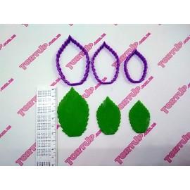 Пластиковая вырубка Листья розы набор 3шт, 6,5 см, 5,3см, 4,2см