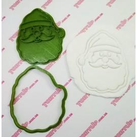 Пластиковая вырубка с оттиском Санта лицо, 10см