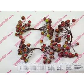 Тычинки крупные на проволоке жёлто-красные в сахаре, 7см, 1 пучок - 50 бусинок