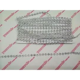 Лента Цветок со стразой серебро 1м, ширина 10мм