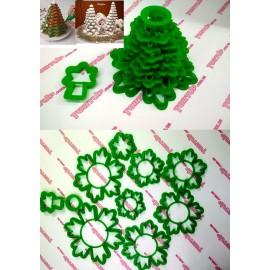Пластиковая вырубка Ёлка 3D (снежинки) со звездой №4 8шт, от 5см до 13см