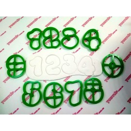 Пластиковая вырубка цифры округлые набор 0-9, 10см