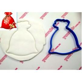 Пластиковая вырубка Мешок с подарками, 10см