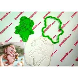 Пластиковая вырубка с оттиском Хрюшка с игрушкой, 12см