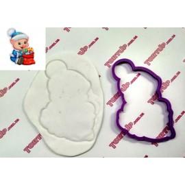 Пластиковая вырубка Поросёнок с подарком, 12см