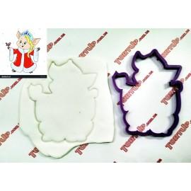 Пластиковая вырубка Свинка снегурка, 12см