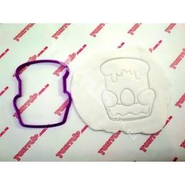 Пластиковая вырубка Пасхальный кулич без оттиска, 12см