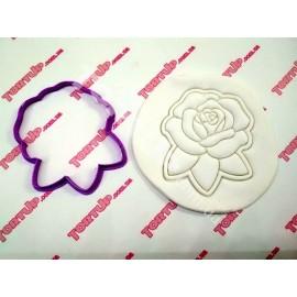 Пластиковая вырубка без оттиска Роза 10см