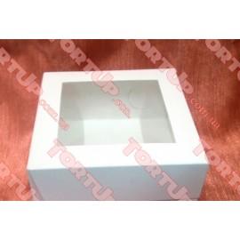 Коробка глянец для пирожных + окно 170*170*80мм