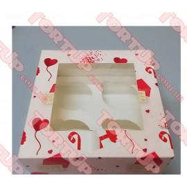 Коробка глянец для маффинов на 4шт LOVE 170*170*80мм