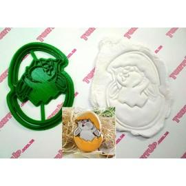 Пластиковая вырубка с оттиском Зая в яйце 12см