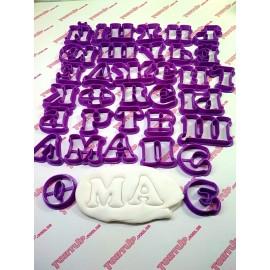 Пластиковая вырубка алфавит Округлый 4см+укр буквы, (34 букв) режущяя часть 10мм