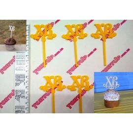 Топпер пластиковый мини ХВ 5*3см, ножка 5см, жёлтый