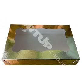 Коробка для пирожных 250*170*80 (с окошком) золото