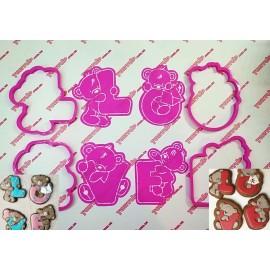 Пластиковая вырубка Тедди Love набор, 12см
