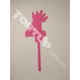 Топпер пластиковый 4 с короной 10+8см ножка, розовый