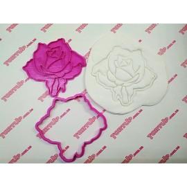 Пластиковая вырубка без оттиска Роза 1, 10см
