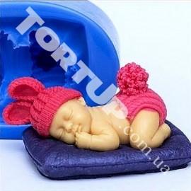 Молд ЗД Младенец с ушками на подушке