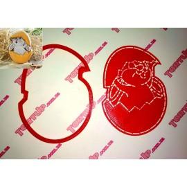 Пластиковая вырубка+трафарет Заяц в яйце 12см