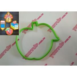 Пластиковая вырубка Яблоко №2 (школьное) 10см