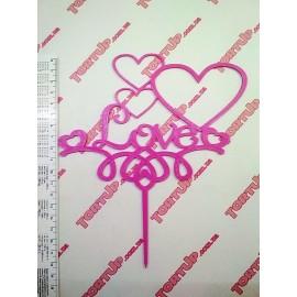 Пластиковый топпер Love с сердечками